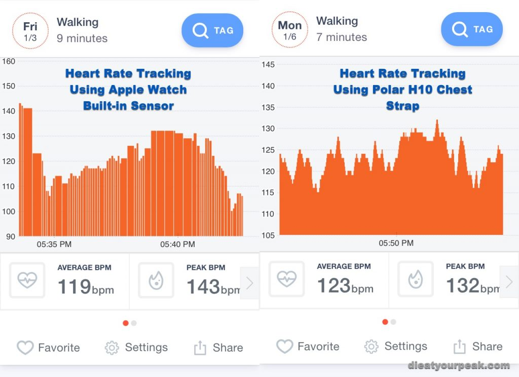 apple watch heart rate tracking does not collect as many data points as polar h10 chest strap monitor